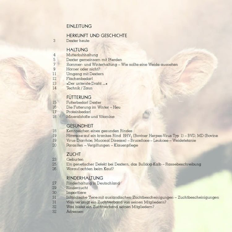 Inhaltsverzeichnis der Dexterbroschüre